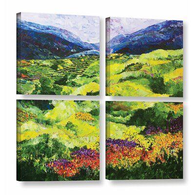 Soft Grass 4 Piece Painting Print on Wrapped Canvas Set