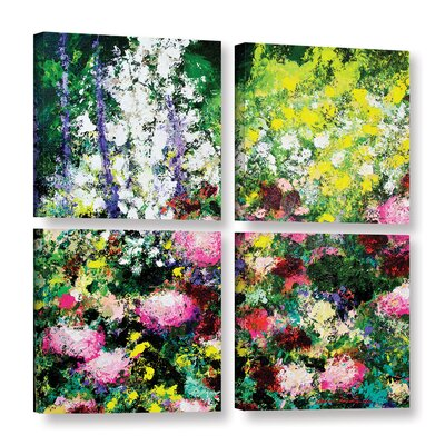 Summertime 4 Piece Painting Print on Wrapped Canvas Set Size: 36