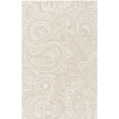 Glenford Hand-Hooked Beige Area Rug Rug Size: Rectangle 5 x 76