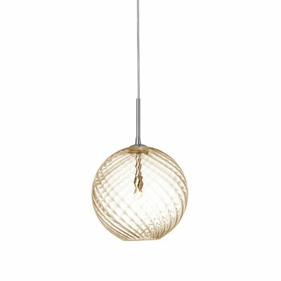 Greenmeadow 1-Light Globe Pendant Shade Color: Amber, Size: 7 H x 6 W x 6 D