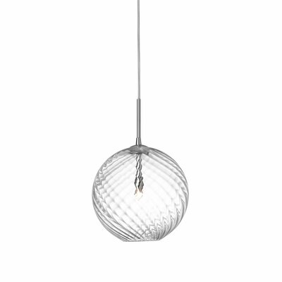 Greenmeadow 1-Light Globe Pendant Size: 7'' H x 6'' W x 6'' D, Shade Color: Clear