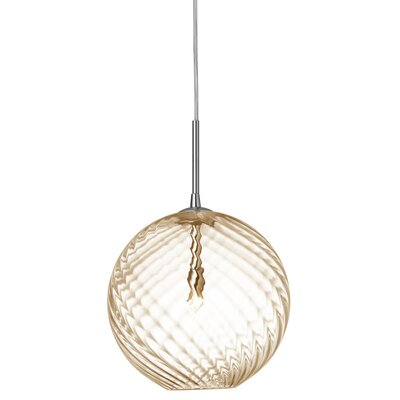 Greenmeadow 1-Light Globe Pendant Shade Color: Amber, Size: 11'' H x 10'' W x 10'' D