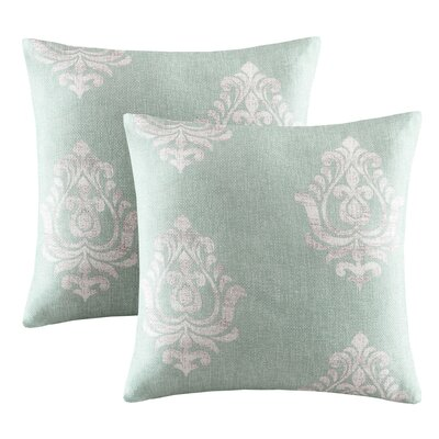 Morrisdale Texture Damask Printed Throw Pillow Color: Aqua