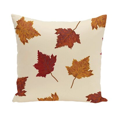 Dancing Leaves Flower Print Throw Pillow Size: 26 H x 26 W, Color: Off White