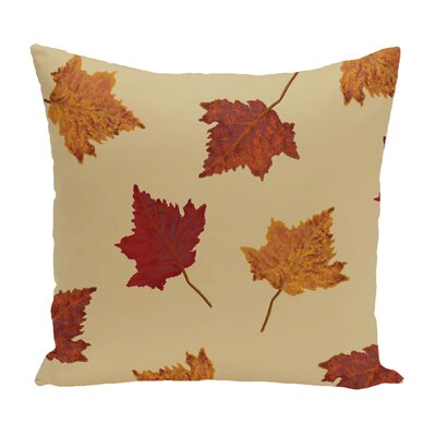 Dancing Leaves Flower Print Throw Pillow Size: 16 H x 16 W, Color: Gold