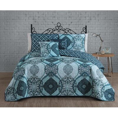 Newson 5 Piece Quilt Set Size: King, Color: Blue