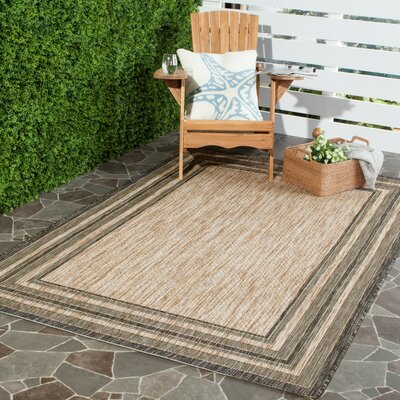 Rockbridge Natural/Black Indoor/Outdoor Area Rug Rug Size: Rectangle 67 x 96