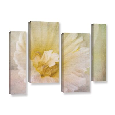 Daffodil Heart 4 Piece Painting Print on Gallery Wrapped Canvas Set