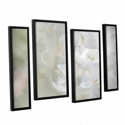 White Lilac II 4 Piece Framed Painting Print on Canvas Set