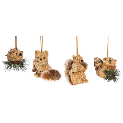 4 Piece Bristle Animal Ornament Set