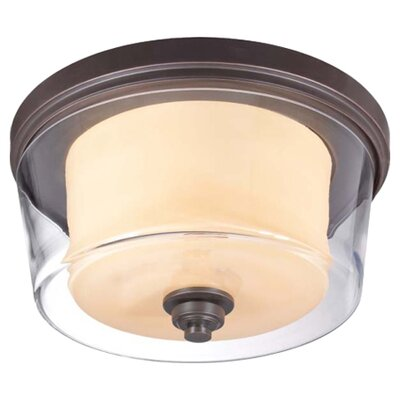 Bevilacqua 3-Light Flush Mount Finish / Glass Color: Sudbury Bronze/ Clear Outer with Cream Inner
