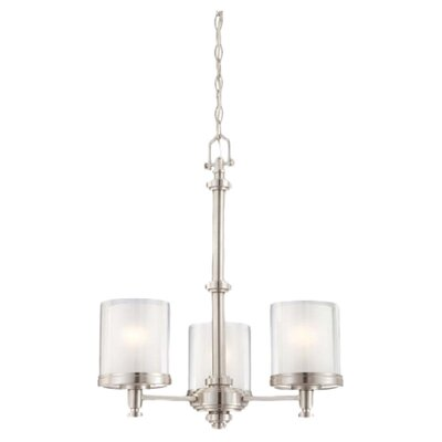 Bevilacqua 3-Light Candle-Style Chandelier Finish / Glass Finish: Brushed Nickel/ Clear Outer with Frosted Inner