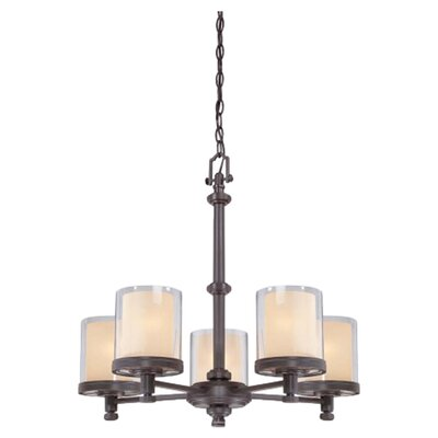 Bevilacqua 5-Light Shaded Chandelier Finish / Glass Finish: Sudbury Bronze/ Clear Outer with Cream Inner