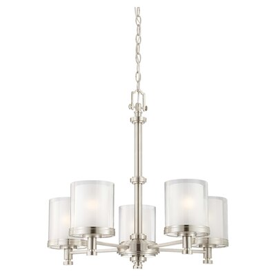 Bevilacqua 5-Light Shaded Chandelier Finish / Glass Finish: Brushed Nickel/ Clear Outer with Frosted Inner