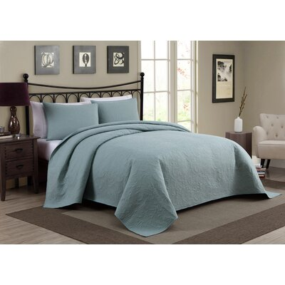 Pennville 1 Piece Bedspread Set Color: Blue, Size: Queen