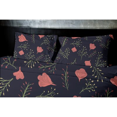 Orchard Lane Spring Blooms Floral Duvet Cover Color: Navy Blue, Size: Queen