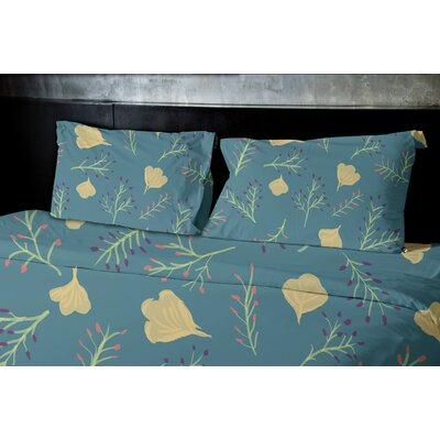 Orchard Lane Spring Blooms Floral Duvet Cover Size: King, Color: Teal