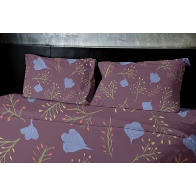 Orchard Lane Spring Blooms Floral Duvet Cover Size: King, Color: Purple