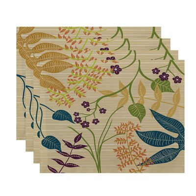 Orchard Lane Botanical Floral Placemat Color: Gold