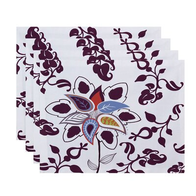 Orchard Lane Paisley Pop Floral Placemat Color: Purple