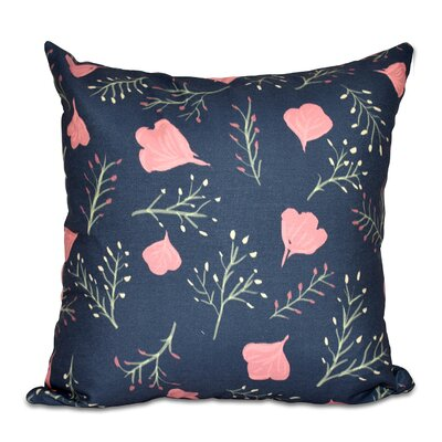 Orchard Lane Spring Floral Throw Pillow Color: Navy Blue, Size: 18