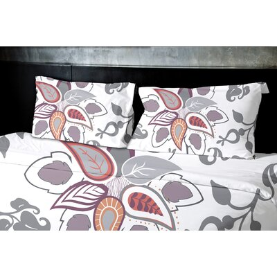 Orchard Lane Paisley Pop Floral Duvet Cover Size: King, Color: Gray