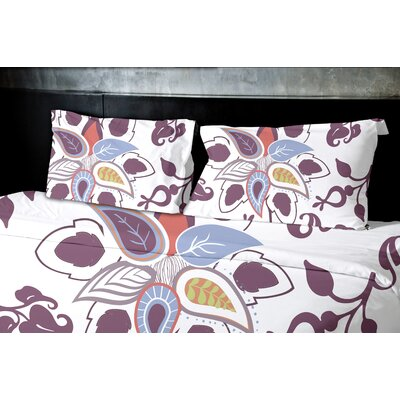 Orchard Lane Paisley Pop Floral Duvet Cover Size: King, Color: Purple