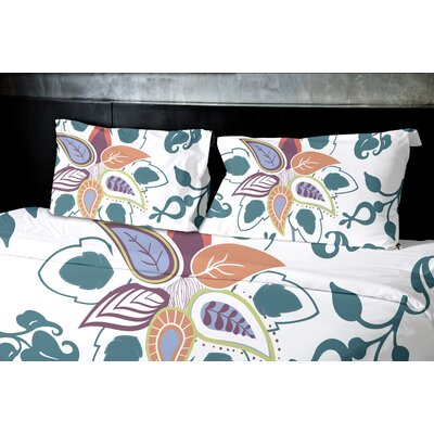 Orchard Lane Paisley Pop Floral Duvet Cover Size: King, Color: Teal