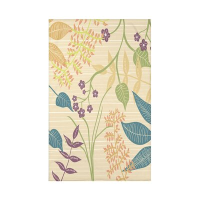 Orchard Lane Botanical Floral Fleece Throw Blanket Size: 60 L x 50 W x 0.5 D, Color: Gold
