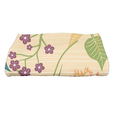 Orchard Lane Botanical Floral Print Bath Towel Color: Gold