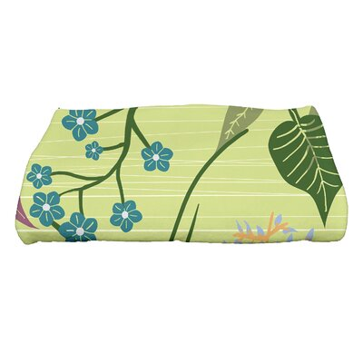 Orchard Lane Botanical Floral Print Bath Towel Color: Green