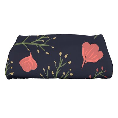 Orchard Lane Spring Floral Print Bath Towel Color: Navy Blue