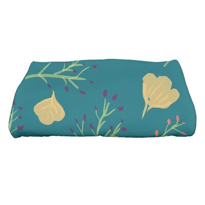 Orchard Lane Spring Floral Print Bath Towel Color: Teal