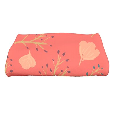 Orchard Lane Spring Floral Print Bath Towel Color: Coral