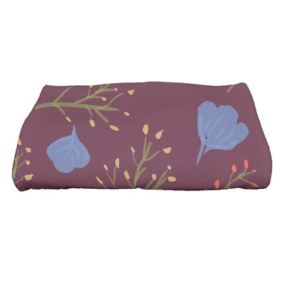 Orchard Lane Spring Floral Print Bath Towel Color: Purple