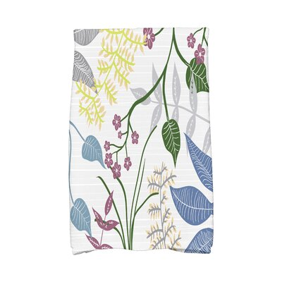 Orchard Lane Botanical Floral Print Hand Towel Color: Gray