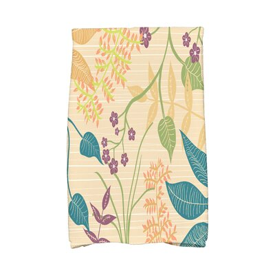 Orchard Lane Botanical Floral Print Hand Towel Color: Gold