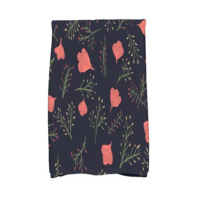 Orchard Lane Spring Floral Print Hand Towel Color: Navy Blue