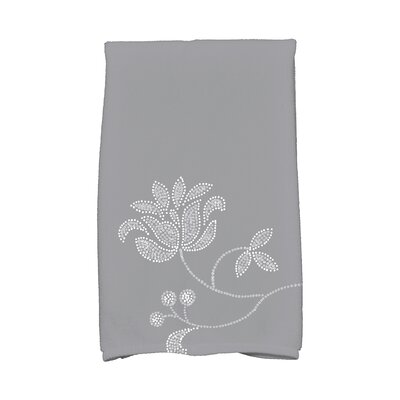 Maniteau Traditional Flower-Single Bloom Hand Towel Color: Gray