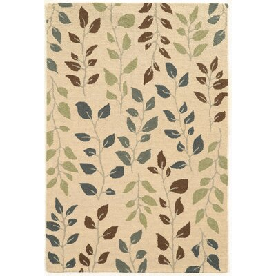 Norvelt Handmade Beige/Green Area Rug Rug Size: Rectangle 5 x 79