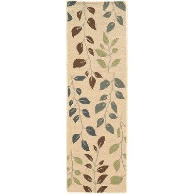 Norvelt Handmade Beige/Green Area Rug Rug Size: Runner 23 x 76
