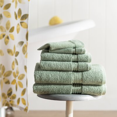 Parris 6 Piece Towel Set Color: Green