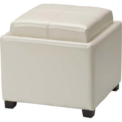 Dogwood StorageTray Leather Ottoman Upholstery: Creme