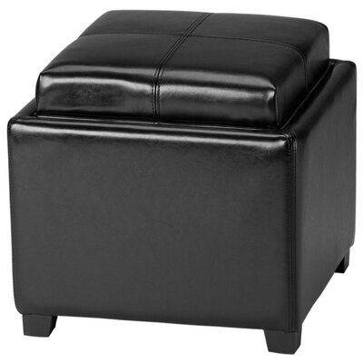 Dogwood StorageTray Leather Ottoman Upholstery: Black