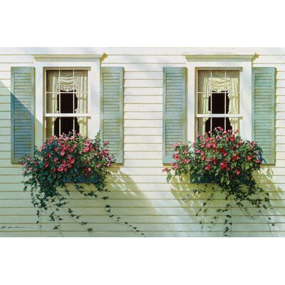 Windows with Flowerboxes Painting Print on Wrapped Canvas
