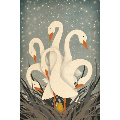 Six Geese A Laying Graphic Art on Wrapped Canvas