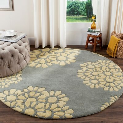 Martha Stewart Hand-Tufted Cement Area Rug Rug Size: Round 6 x 6