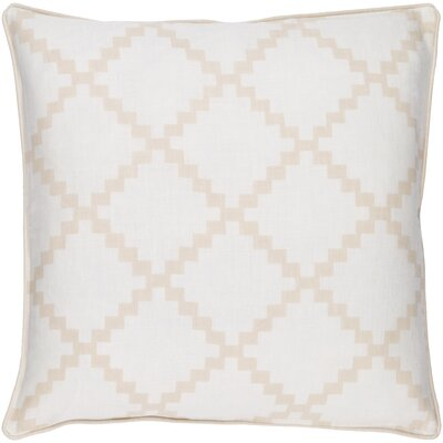 Eversole 100% Linen Throw Pillow Cover Color: White, Size: 22 H x 22 W x 0.25 D