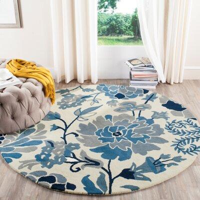 Martha Stewart Hand-Tufted Azurite Area Rug Rug Size: Round 4 x 4