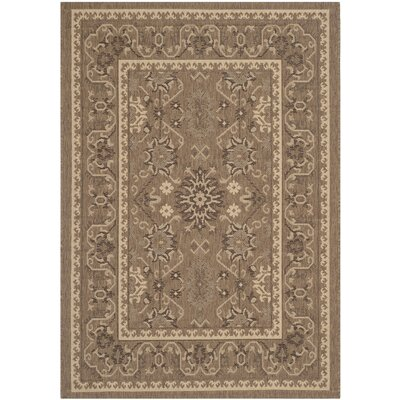 Bacall Brown / Creme Indoor / Outdoor Area Rug Rug Size: 4 x 57